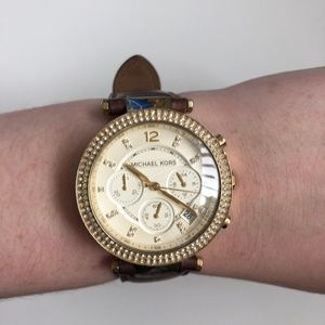 Michael Kors Gold and Leather Watch